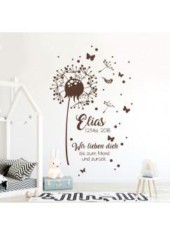 Wandtattoo Babyzimmer Pusteblume Geburtsdaten & Zitat Kinderzimmer Wanddeko Wandgestaltung mit Namen & Datum M2351