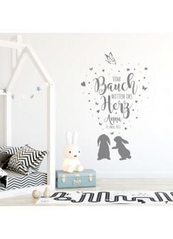 Wandtattoo Babyzimmer Spruch Zitat & Geburtsdaten Kinderzimmer Hasen Herzen & Schmetterlinge Wanddeko Wandgestaltung mit Namen & Datum M2340
