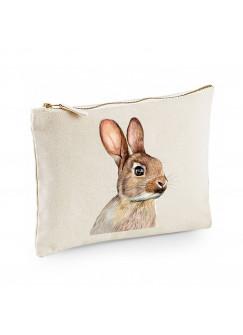 Canvas Pouch Tasche mit süßen Hasen Kaninchen Waschtasche Kulturbeutel individuell bedruckt cl23