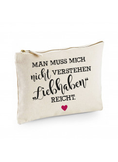 Canvas Pouch Tasche Spruch liebhaben reicht mit Herz Herzsymbol Herzchen Waschtasche Kulturbeutel individuell bedruckt cl3