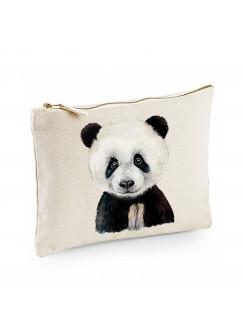 Canvas Pouch Tasche mit Pandabär Panda Waschtasche Kulturbeutel individuell bedruckt cl33