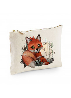Canvas Pouch Tasche mit Fuchs Fuchsmama mit Junges Waschtasche Kulturbeutel individuell bedruckt Name Wunschnamen cl34