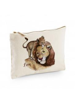 Canvas Pouch Tasche mit Löwe Löwenpapa & Junges Waschtasche Kulturbeutel individuell bedruckt Name Wunschnamen cl37