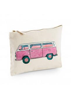 Canvas Pouch Tasche Bulli Bus pink oder türkis von der Seite seitlich Waschtasche Kulturbeutel individuell bedruckt cl39