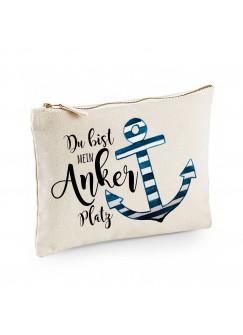 Canvas Pouch Tasche mit Anker & Spruch Du bist mein Anker Platz Waschtasche Kulturbeutel individuell bedruckt cl42