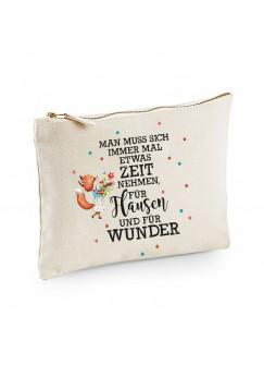 Canvas Pouch Tasche mit Fuchs & Spruch Zeit für Flausen und Wunder Waschtasche Kulturbeutel individuell bedruckt cl5