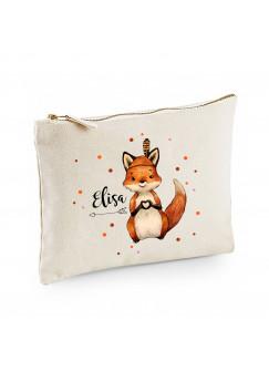 Canvas Pouch Tasche Waschtasche Fuchs Indianerfuchs individuell bedruckt mit Name Wunschname Kulturbeutel Motiv cl57
