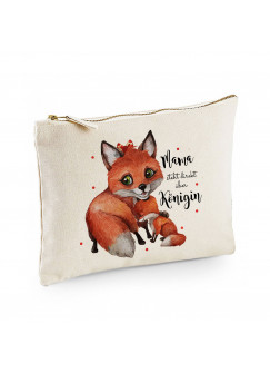 Canvas Pouch Tasche Fuchs Fuchsmama mit Junges & Spruch Mama steht über Königin Waschtasche Kulturbeutel Kosmetiktasche cl61