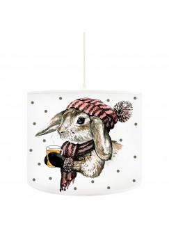 Deckenlampe Hase Kaninchen mit Mütze Schal Tee und Punkte D34