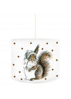 Deckenlampe Eichhörnchen Winterschlaf mit Kissen und Schlafmütze D38