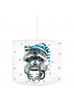 Deckenlampe Waschbär mit Schlafmütze und Kaffeetasse D42