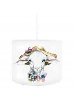 Deckenlampe Schaf Lamm mit Hut und Blumen D52