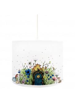 Deckenlampe Elfenwiese Lampe mit kleiner Elfe Fee und Punkten grün & rosa D71