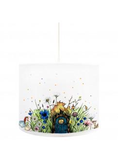 Deckenlampe Elfenwiese Lampe mit kleiner Elfe Fee und Punkten blau & orange D71b