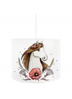 Deckenlampe Pferd Deckenleuchte Lampe mit Pferdemotiv Mohnblume und Punkte D73
