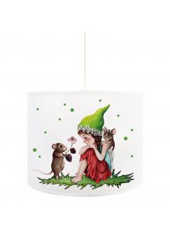 Deckenlampe Elfe Fee mit Mäusen & Punkte Kinderlampe Deckenleuchte mit Elfenmotiv Lampe Leuchte Hängelampe D93