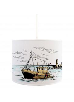 Lampe Deckenlampe Heimathafen Rostock Warnemünde Hafen mit Fischerboot Boot Kutter und Leuchtturm D57