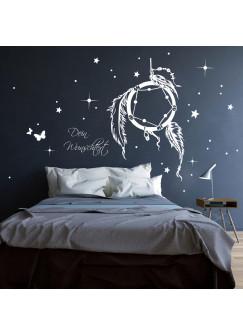 Traumfänger Wandtattoo Wandsticker mit Sternen und Wunschtext M2088