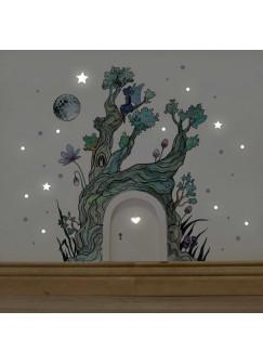 Elfentür mit Wandtattoo Baum im Zauberwald mit Elfe Mond und Punkten e06