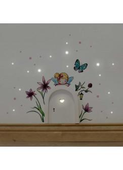 Elfentür mit Wandtattoo kleine Elfe Fee mit Blumen Schmetterling und Punkten e08
