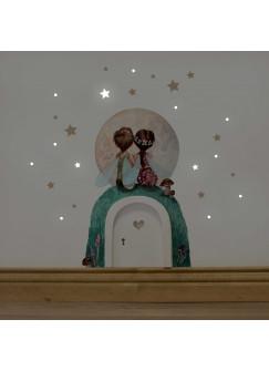 Elfentür mit Wandtattoo Elfenpärchen mit Mond und Sterne e10