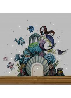Elfentür Wichteltür mit Wandtattoo Aufkleber Sticker Meerjungfrau Unterwasser mit Fischen und Quallen e18