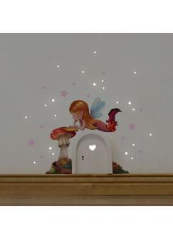 Elfentür Wichteltür mit Elfe Fee & Fliegenpilz Wandtattoo und rosa Sterne e25