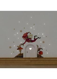 Elfentür Wichteltür mit kleinem Elf Kobold & Fliegenpilz Wandtattoo und cremefarbene Sterne e26