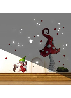 Elfentür Wichteltür kleine Elfe Fee mit Maus & Fliegenpilz Wandtattoo mit rote Punkte e30