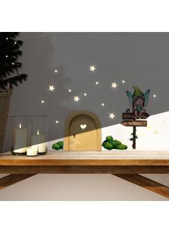 Elfentür Wichteltür Feentür Wandtattoo kleine Fee Elfe auf Schild mit Mooshügeln + Leuchtsticker e34