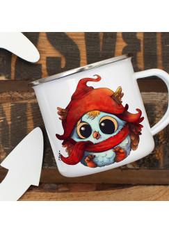 Emaille Tasse Becher mit Eule Eulchen im Winter Kaffeebecher Camping-Becher Eulentasse eb10