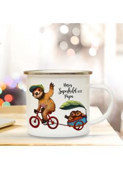 Emaille Becher Camping Tasse mit Faultiere Fahrrad & Spruch Papa Superheld Kaffeetasse Geschenk eb102