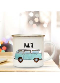 Emaille Becher Camping Tasse mit Bus Bulli Autobus Surfbus hellblau & Name Wunschname Kaffeetasse Geschenk eb103