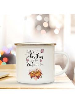 Emaille Becher Camping Tasse mit Eulen Eulchen auf Zweig & Spruch Nichts ist so kostbar... Kaffeetasse Geschenk eb104