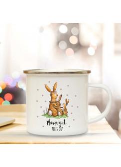Emaille Becher Camping Tasse mit Hasen Häschen & Spruch Mama gut Alles gut Kaffeetasse Geschenk eb105