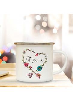 Emaille Becher Muttertag Camping Tasse mit Blumenkranz & Spruch Mama Kaffeetasse Geschenk eb106