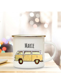 Emaille Becher Camping Tasse mit Bus Bulli gelb Autobus Surfbus & Name Wunschname Kaffeetasse Geschenk eb110