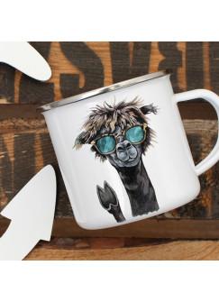 Emaille Tasse Becher mit NO Drama Lama & Sonnebrille Kaffeebecher Kaffeetasse eb11