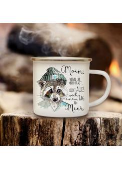Emaille Becher Camping Tasse Waschbär Kaffeetasse Geschenk maritim Spruch Motto ...ein Tag am Meer eb124