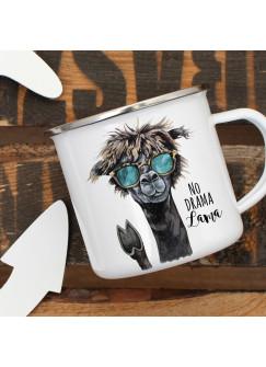 Emaille Tasse Becher mit Lama & Sonnebrille Kaffeebecher mit Spruch NO Drama Lama eb12