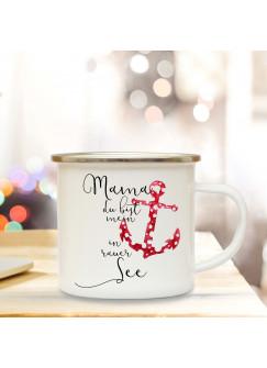 Emaille Becher Muttertag Camping Tasse Anker & Spruch Motto Mama mein Anker in rauer See Kaffeetasse Zitat Geschenk eb131