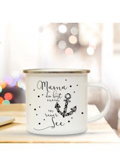 Emaille Becher Muttertag Camping Tasse Anker & Spruch Motto Mama mein Anker in rauer See Kaffeetasse Zitat Geschenk eb132