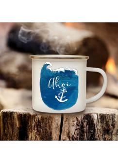 Emaille Becher Maritim Camping Tasse Kaffeetasse Anker Meer Welle & Spruch Motto Ahoi eb136