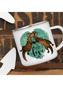 Emaille Tasse Becher mit Otter Kaffeebecher & Spruch I'm otterly in love with you eb14