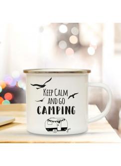 Emaille Becher Camping Tasse Wohnwagen Camper & Spruch Motto keep calm and go camping Kaffeetasse Zitat Geschenk eb140