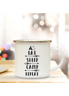 Emaille Becher Camping Tasse Zelt & Spruch Motto eat sleep camp and repeat Kaffeetasse Zitat Geschenk eb141