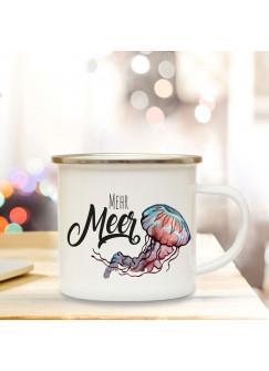 Emaille Becher Camping Tasse Qualle & Spruch Motto mehr Meer Kaffeetasse Zitat Geschenk eb142