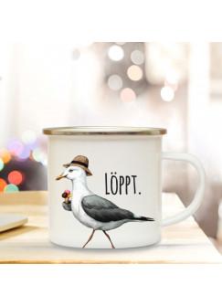 Emaille Becher Camping Tasse Möwe mit Hut & Spruch Motto löppt Kaffeetasse Zitat Geschenk eb148