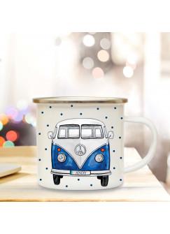 Emaillebecher Bulli blau Kaffeebecher Campingbecher mit Wunschnamen Geschenk eb161