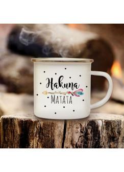 """Emaillebecher Campingbecher Kaffeebecher mit Spruch """"Hakuna Matata"""" eb166"""